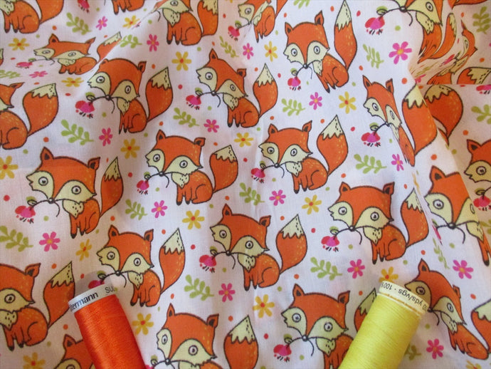 Little Orange Foxes on a White Background Poly Cotton
