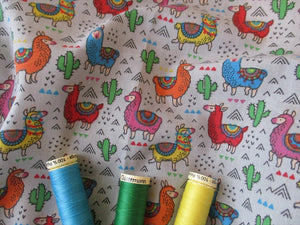 Multi Color Llamas on a Silver Grey Background Poly Cotton