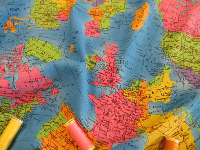 GLOBE World Map Fabric Atlas on a Turquoise Background 100% Cotton