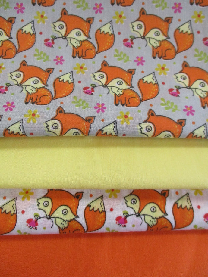 Cute Little Orange Foxes Silver Grey and White Fat Quarter Bundle Poly Cotton