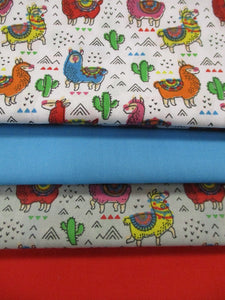 Cute Little Multi Color Llamas Grey and White Fat Quarter Bundle Poly Cotton