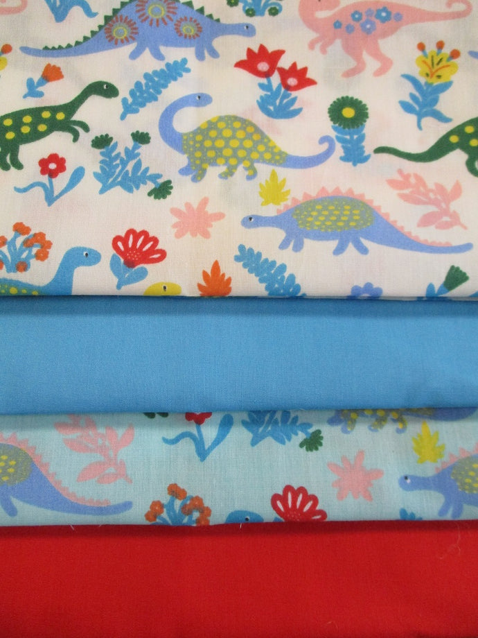 Cute Little Dinosaurs Sky Blue and White Fat Quarter Bundle Poly Cotton