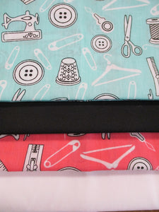 Sewing Notions Aqua & Pink Fat Quarter Bundle Poly Cotton