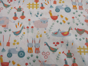 Little Farm Animals & Tractors on a Ivory Background 100% Cotton