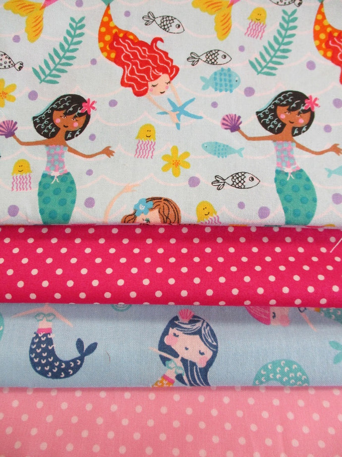 Beautiful Mermaids, Sea Life & Polka Dots Fat Quarter Bundle  100% Cotton