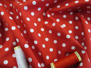 Pea Spot 8mm White on a Red Background 100% Cotton