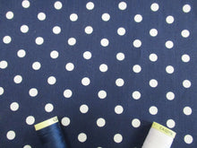 Load image into Gallery viewer, Pea Spot 8mm White on a Navy Background 100% Cotton