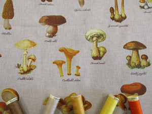 Linen Digital Print Culinary Mushrooms on a Natural Background