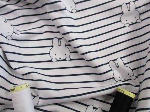 Jersey Miffy Black Stripe on a White Background 97% Cotton 3% Elastane