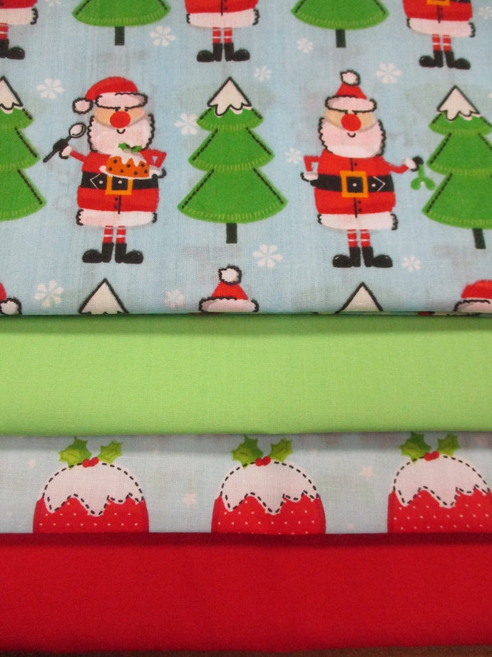 Christmas Santa's & Puddings Fat Quarter Bundle Poly Cotton
