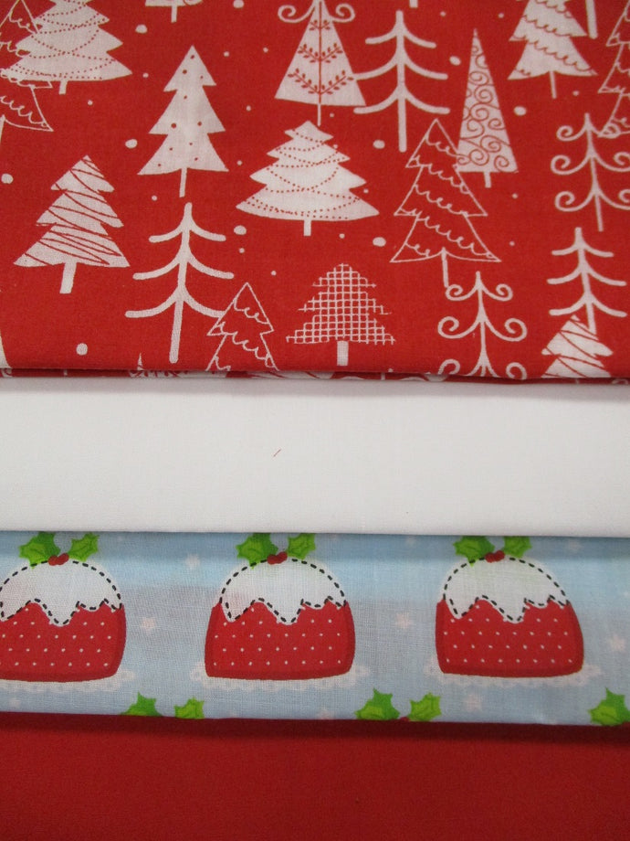 Christmas Tree's & Puddings Fat Quarter Bundle Poly Cotton