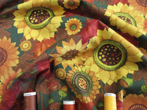 Clothworks Design Autumn Leaves, Sunflowers & Acorns on a Forest Green Background  100% Cotton
