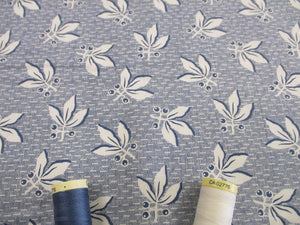 Clothworks Design Berries & Leaves Ivory on Light Denim 100% Cotton