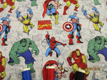 Load image into Gallery viewer, Marvel Avengers Untied Bright Colors on a Stone Background 100% Cotton