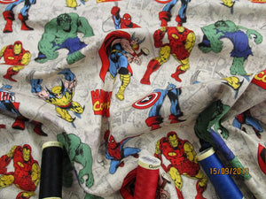Marvel Avengers Untied Bright Colors on a Stone Background 100% Cotton