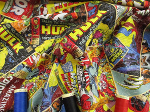 Marvel Comic Book The Hulk, Iron-Man, Spider-Man, Wolverine etc Bright Multi Colors 100% Cotton