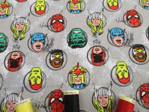 Marvel Comics 2 Characters Bright Colors on a Stone Background 100% Cotton