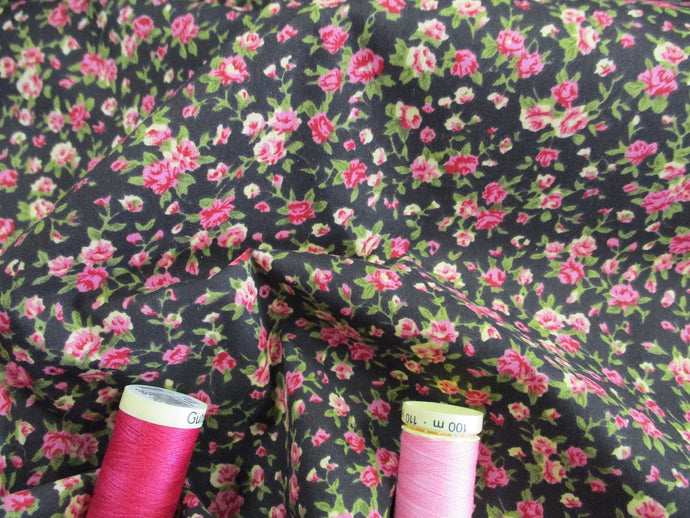 Vintage Pretty Little Roses Cerise on a Black Background Poly Cotton