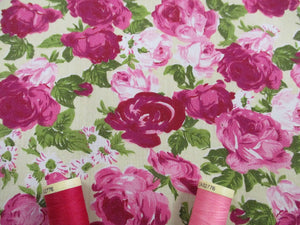 Vintage Roses Cerise and Pink on a Pale Lemon Background Poly Cotton