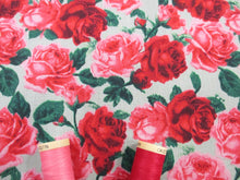 Load image into Gallery viewer, Vintage Roses Red and Pink on a Mint Background Poly Cotton