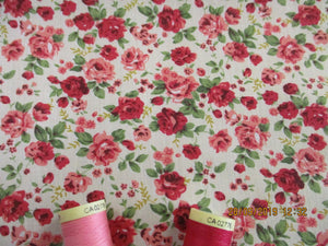 Vintage Pretty Little Roses Cerise & Pink on a Ivory Background Poly Cotton