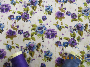 Vintage Pretty Little Roses Blue & Purple on a Ivory Background Poly Cotton