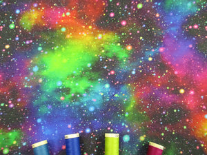Speckled Galaxy Bright Color Digital Print on a Black Background  100% Cotton