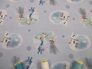 Disney Frozen Elsa & Anna on a Pale Blue Background  - Licensed 100% Cotton