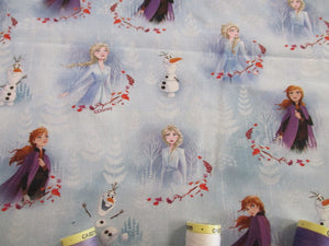 Disney Frozen Elsa Anna & Olaf on a White & Pale Blue Background  - Licensed 100% Cotton