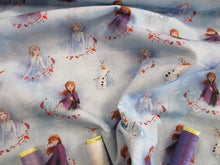 Load image into Gallery viewer, Disney Frozen Elsa Anna & Olaf on a White & Pale Blue Background  - Licensed 100% Cotton
