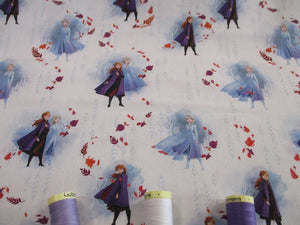Disney Frozen Elsa & Anna on a White Background  - Licensed 100% Cotton