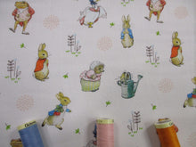 Load image into Gallery viewer, Beatrix Potters Peter Rabbit & Friends - All Characters on a Ivory Background 100% Cotton Digital Print