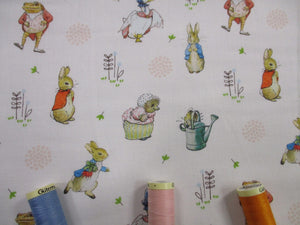 Beatrix Potters Peter Rabbit & Friends - All Characters on a Ivory Background 100% Cotton Digital Print