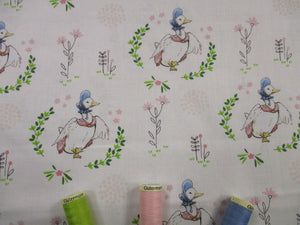 Beatrix Potters Peter Rabbit Jemima Puddleduck on a Ivory Background 100% Cotton Digital Print