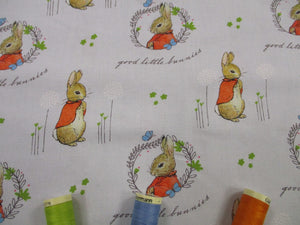 Beatrix Potters Peter Rabbit Flopsy Mopsy on a Silver Grey Background 100% Cotton Digital Print