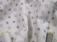 Load image into Gallery viewer, Special Offer! Stars Silver Grey Stars on a White Background 100% Cotton