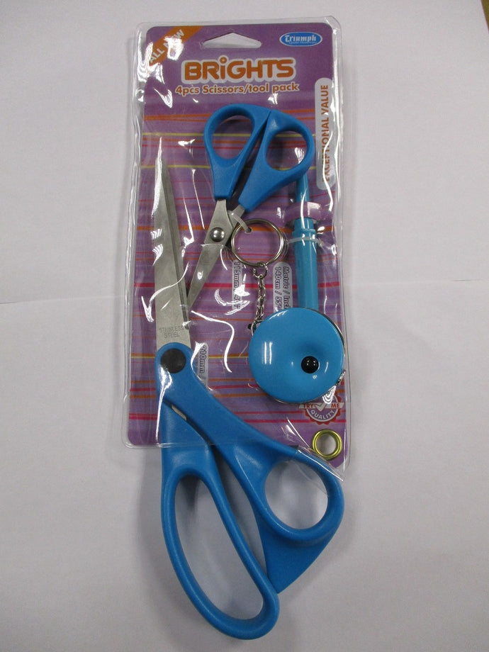 4 Piece Scissor Tool Set ideal for sewing projects. Color Blue