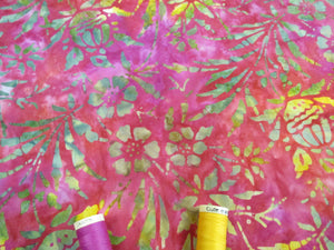 Batik Printed Cotton Flower Heads & Leaves Yellow & Blue on a Cerise Background 100% Cotton