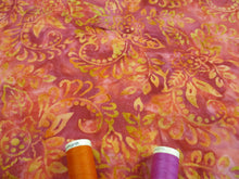 Load image into Gallery viewer, Batik Printed Cotton Leaves Orange & Cerise Mix 100% Cotton