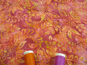 Batik Printed Cotton Leaves Orange & Cerise Mix 100% Cotton