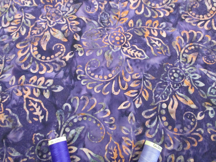 Batik Printed Cotton Leaves  Pink & Lilac on a Purple Background 100% Cotton