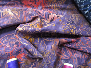 Batik Printed Cotton Leaves & Flower Heads Pink & Gold on a Purple Background 100% Cotton