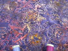 Load image into Gallery viewer, Batik Printed Cotton Leaves & Flower Heads Pink & Gold on a Purple Background 100% Cotton