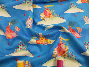 Clothsworks Medieval Princess Unicorns Castle Fairy Tale on Turquoise Background 100% Cotton