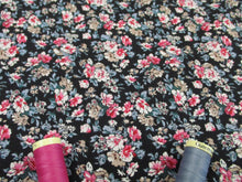 Load image into Gallery viewer, Retro Flowers Blue and Pink Mix on a Black Background 100% Cotton Fabric