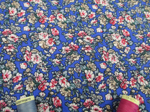 Retro Flowers Cream and Pink Mix on a Royal Blue Background 100% Cotton Fabric