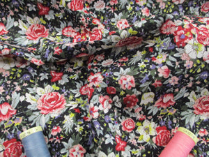 Retro Flowers Burgundy, Pink & Blue Mix on a Black Background 100% Cotton Fabric