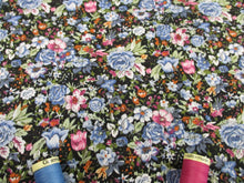 Load image into Gallery viewer, Retro Flowers Blue, Pink & White Mix on a Black Background 100% Cotton Fabric