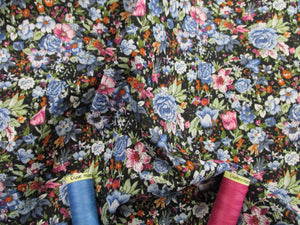 Retro Flowers Blue, Pink & White Mix on a Black Background 100% Cotton Fabric
