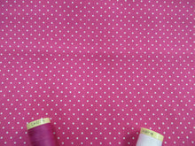 Load image into Gallery viewer, Pin Spot White on a Cerise Background 100% Cotton
